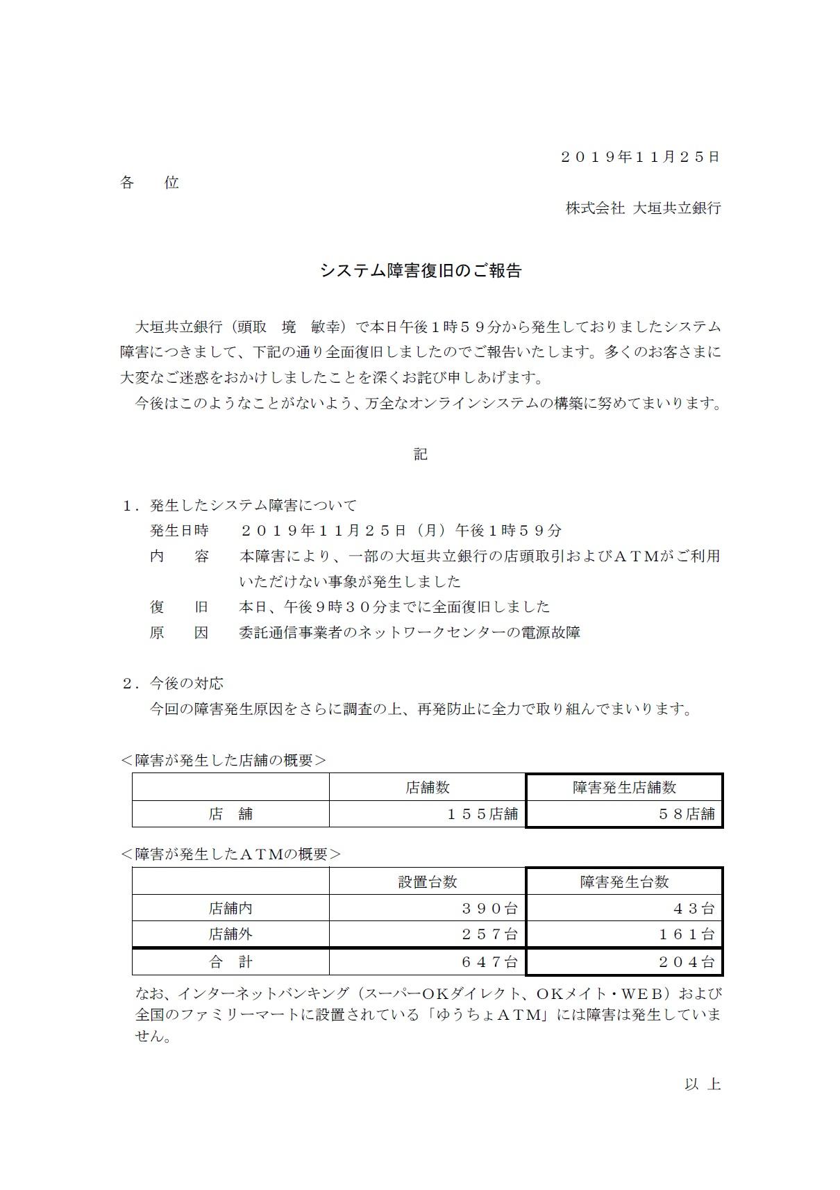 システム障害復旧のご報告 | アーカイブ | 大垣共立銀行